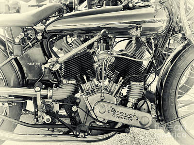 Photograph - 1924 Brough Superior Ss80 Engine by Tim Gainey