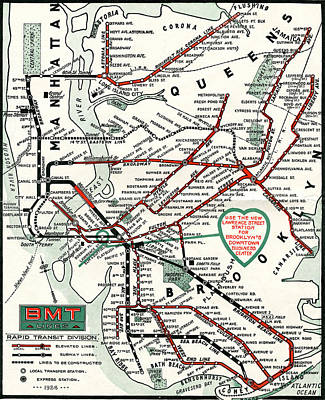 Photograph - 1924 Map Brooklyn-manhattan Transit by BMT Lines