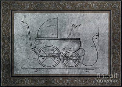 Wheels Digital Art - 1924 Patent Art Koch Baby Carriage 1 by Lesa Fine