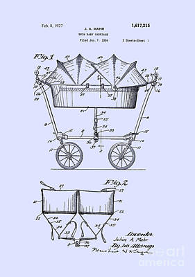 Digital Art - 1927 Baby Twin Baby Carriage-blue by Lesa Fine