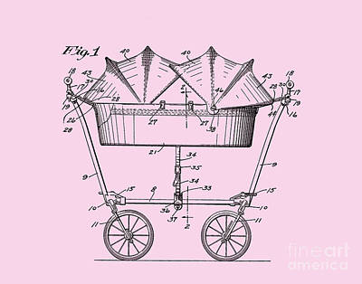 Digital Art - 1927 Baby Twin Baby Carriage-pink by Lesa Fine