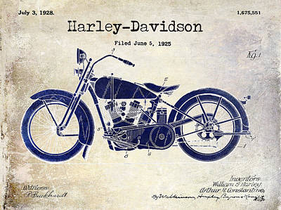 1928 Harley Davidson Patent Drawing 2 Tone Blue Art Print by Jon Neidert