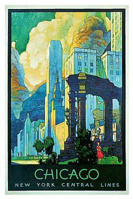 Mixed Media - 1929 Chicago - Vintage Travel Art by Presented By American Classic Art