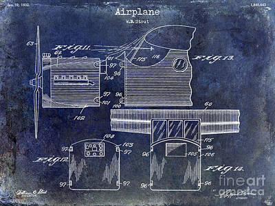 Blue Airplane Photograph - 1932 Airplane Patent Drawing Blue by Jon Neidert