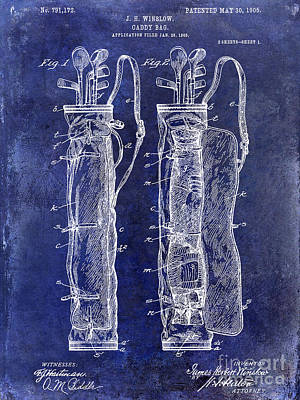Shack Photograph - 1933 Golf Bag Patent Drawing Blue by Jon Neidert