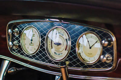 Photograph - 1933 Lincoln Kb Judkins Coupe Dashboard Instrument Panel by Jill Reger