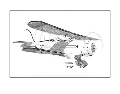 Drawing - 1935  Waco Bi Plane by Jack Pumphrey