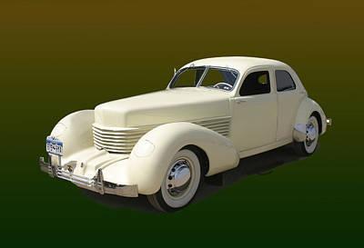Design With Photograph - 1936 Cord 810 Westchester Sedan by Jack Pumphrey
