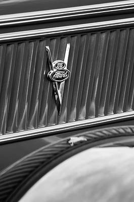 Ford Pickup Photograph - 1937 Ford Pickup Truck V8 Emblem by Jill Reger