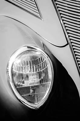 Ford Tudor Photograph - 1937 Ford Tudor Headlight by Jill Reger