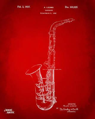 Saxaphones Digital Art - 1937 Saxophone Patent Artwork - Red by Nikki Marie Smith