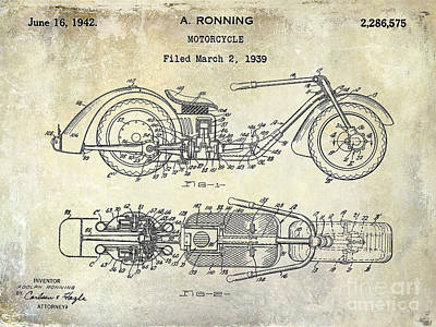 Harley Davidson Photograph - 1939 Motorcycle Patent Drawing by Jon Neidert