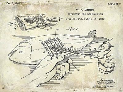 1940 Boning Fish Patent Drawing Art Print by Jon Neidert