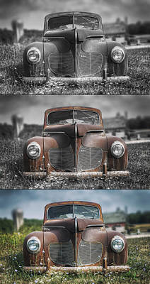 Rusted Cars Photograph - 1940 Desoto Deluxe Triptych by Scott Norris