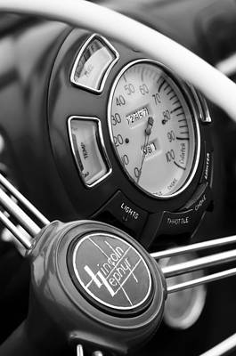 Photograph - 1940 Lincoln-zephyr Continental Cabriolet Steering Wheel Emblem by Jill Reger