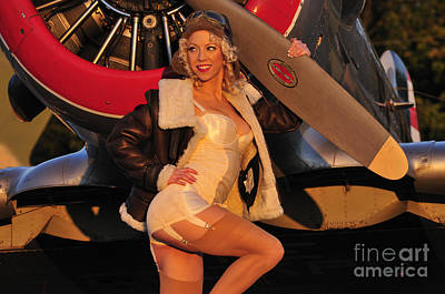 Photograph - 1940s Style Aviator Pin-up Girl Posing by Christian Kieffer