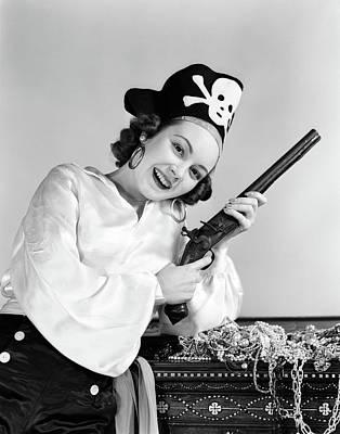 1940s Woman Wearing Pirate Costume Art Print