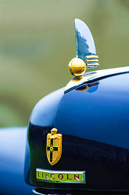 Hood Ornament Photograph - 1942 Lincoln Continental Cabriolet Hood Ornament - Emblem by Jill Reger