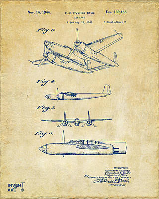 Digital Art - 1944 Howard Hughes Airplane Patent Artwork 2 Red by Nikki Marie Smith