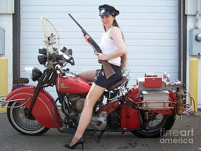 Photograph - 1946 Indian Chief Police Motorcycle  by Classic Spokes And Strings