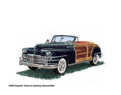 Automotive Drawing - 1948 Chrysler Town And Country by Jack Pumphrey