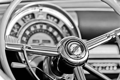 Photograph - 1949 Chrysler Town And Country Convertible Steering Wheel Emblem by Jill Reger
