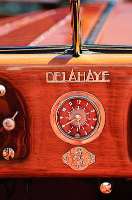 Delahaye Photograph - 1949 Delahaye 175 S Cabriolet Dandy Dash Board Emblem - Clock by Jill Reger