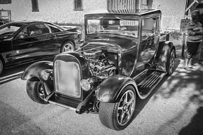 Pickup Truck Door Photograph - 1949 Ford Pick Up Truck Bw by Rich Franco