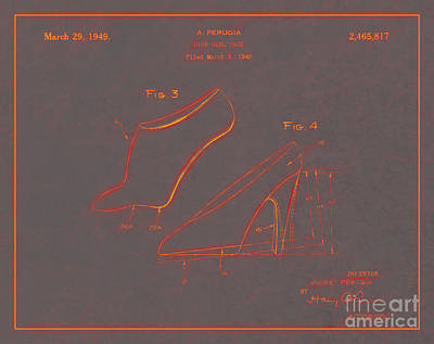 1949 Digital Art - 1949 High Heel Shoes Patent Andre Perugia 10 by Nishanth Gopinathan