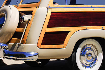 Old Woody Station Wagon Wall Art - Photograph - 1950 Ford Custom Deluxe Station Wagon Rear End - Woodie by Jill Reger