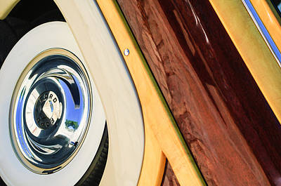 Old Woody Station Wagon Wall Art - Photograph - 1950 Ford Custom Deluxe Woodie Station Wagon Wheel by Jill Reger