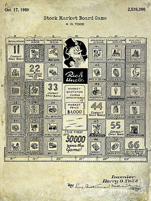 Monopoly Photograph - 1950 Stock Market Game Patent Drawing Blue by Jon Neidert