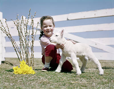 Pussy Willow Photograph - 1950s 1960s Smiling Girl Holding Spring by Vintage Images