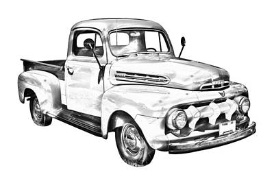 1951 Ford F-1 Pickup Truck Illustration Art Print by Keith Webber Jr