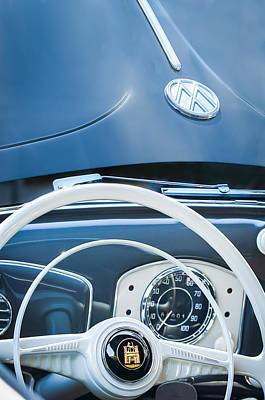 Volkswagen Beetle Photograph - 1951 Volkswagen Vw Beetle Cabriolet Steering Wheel Emblem - Hood Emblem by Jill Reger
