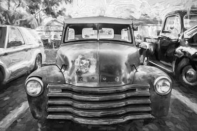 1952 Chevrolet 3100 Series Pick Up Rat Truck Painted Bw  Art Print by Rich Franco
