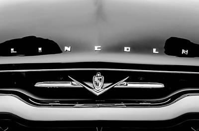 Photograph - 1952 Lincoln Derham Town Car Grille Emblem -0423bw by Jill Reger