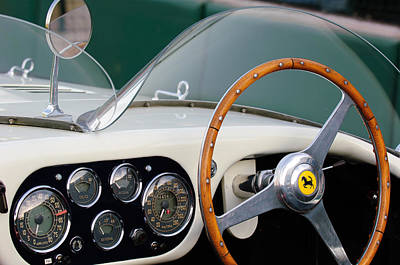 Photograph - 1953 Ferrari 340 Mm Lemans  Spyder Steering Wheel Emblem by Jill Reger