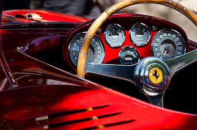 Wheel Photograph - 1954 Ferrari 500 Mondial Spyder Steering Wheel Emblem by Jill Reger