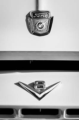 Ford Truck Photograph - 1954 Ford F-100 Custom Pickup Truck Emblems by Jill Reger