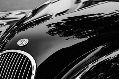 Roadster Photograph - 1954 Jaguar Xk 120 Roadster Hood Emblem by Jill Reger