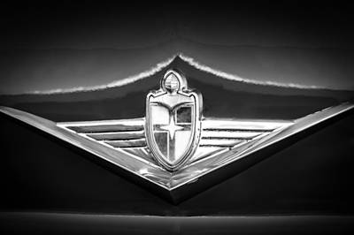 Photograph - 1954 Lincoln Capri Emblem -1170bw by Jill Reger