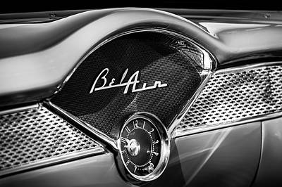 Chevy Bel Air Photograph - 1955 Chevrolet Belair Dashboard Emblem Clock by Jill Reger