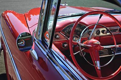 1955 Chevrolet Belair Steering Wheel Art Print by Jill Reger