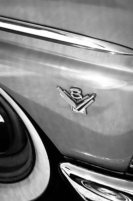 Ford Customline Photograph - 1955 Ford Customline V8 Side Emblem by Jill Reger