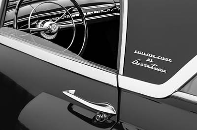 Indianapolis Photograph - 1955 Lincoln Indianapolis Boano Coupe Side Emblem - Steering Wheel -0358bw by Jill Reger