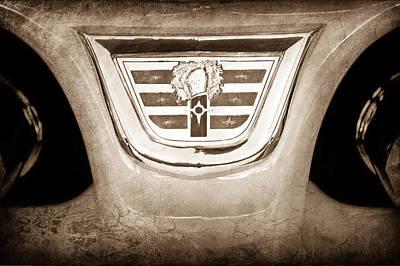 Old Car Door Photograph - 1956 Dodge 2 Door Wagon Emblem by Jill Reger