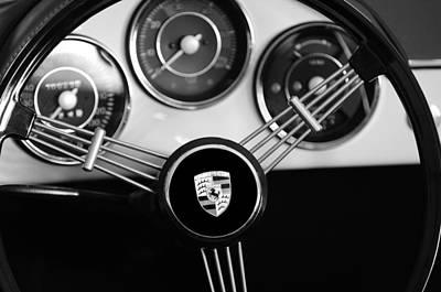 Wheels Photograph - 1956 Porsche Steering Wheel Emblem by Jill Reger