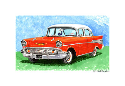 Street Rod Painting - 1957 Chevy Four Door Sedan by Jack Pumphrey