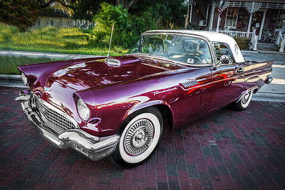 Antique Automobiles Photograph - 1957 Ford Thunderbird Convertible Painted    by Rich Franco